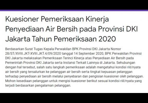 Questionnaire for Examination of Clean Water Supply Performance in DKI Jakarta Province in 2020